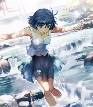 Kostenloses Girl With Blue Hair Wallpaper für 352x416