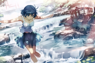 Kostenloses Girl With Blue Hair Wallpaper für 1280x960