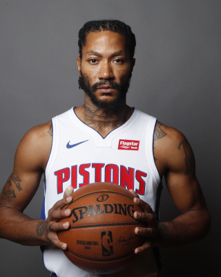 Derrick Rose in Detroit Pistons Wallpaper for Nokia C2-02