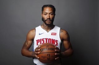 Derrick Rose in Detroit Pistons Background for 480x400
