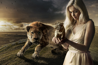 Girl With Tiger Background for Android, iPhone and iPad