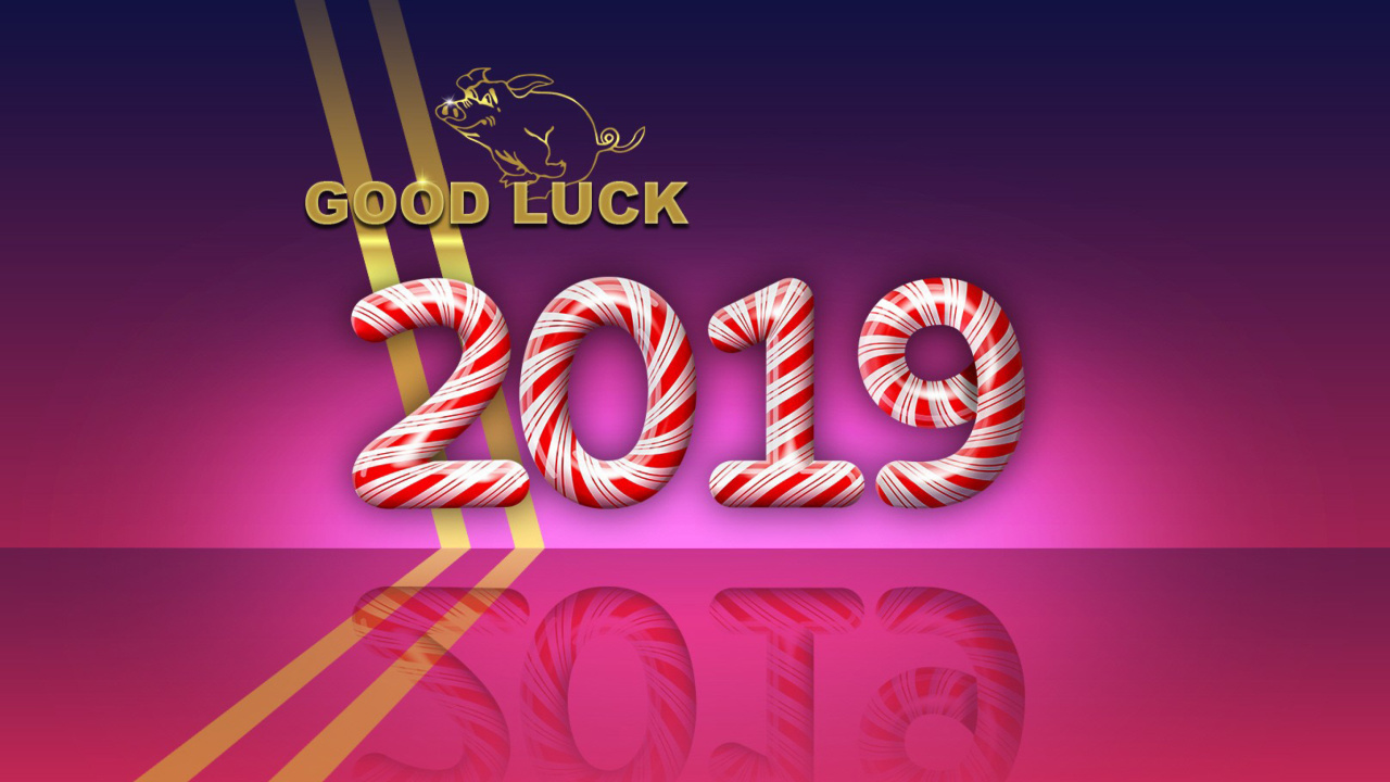 Good Luck in New Year 2019 wallpaper 1280x720