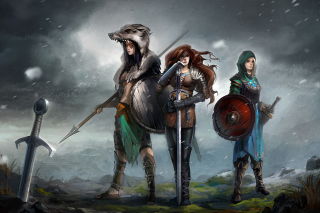 Warriors Valkyries, Norse Mythology sfondi gratuiti per Samsung Galaxy Note 2 N7100