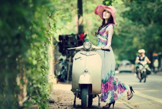 Asian Girl With Vespa papel de parede para celular para 480x320