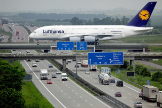 Lufthansa Airbus A380 In Frankfurt Background for Android, iPhone and iPad