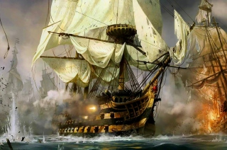 Ship Battle Wallpaper for Android, iPhone and iPad