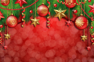 Red Christmas Decorations Picture for Android, iPhone and iPad