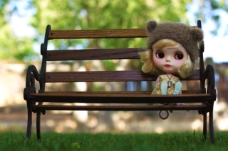 Doll Sitting On Bench Background for Android, iPhone and iPad