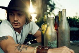 Johnny Depp Sunset Portrait Background for Android, iPhone and iPad