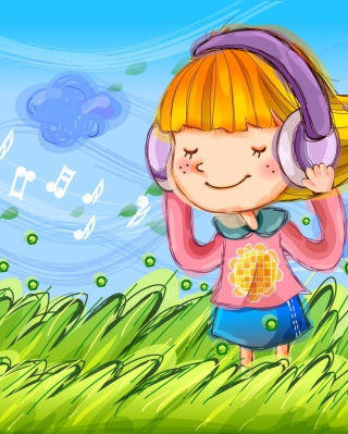 Kostenloses Cute Girl In Headphones Wallpaper für Nokia C1-01