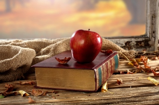 Apple And Book - Obrázkek zdarma