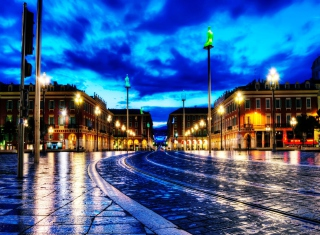 Night France Street Background for Android, iPhone and iPad