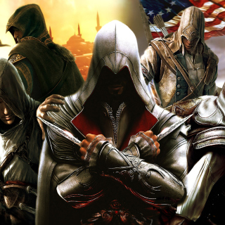 Kostenloses Assassins Creed Altair Ezio Connor Wallpaper für 1024x1024
