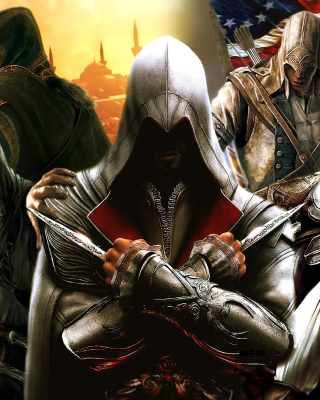 Kostenloses Assassins Creed Altair Ezio Connor Wallpaper für iPhone 5
