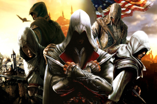 Kostenloses Assassins Creed Altair Ezio Connor Wallpaper für Fullscreen Desktop 1280x1024
