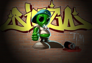 Alien Graffiti Picture for Android, iPhone and iPad