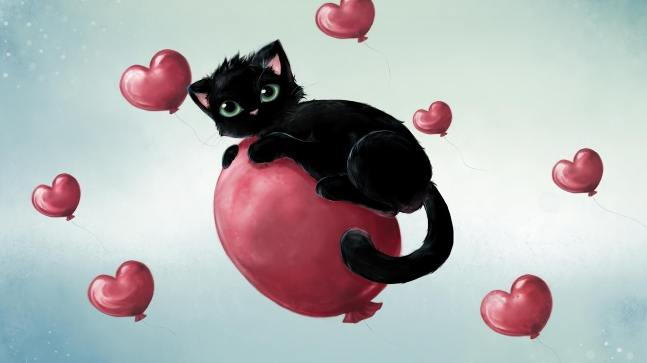 Black Kitty And Red Heart Balloons