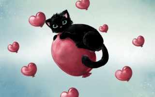 Black Kitty And Red Heart Balloons - Obrázkek zdarma