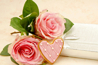 Pink roses and delicious heart Background for Android, iPhone and iPad