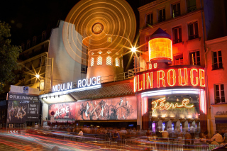 Moulin Rouge cabaret in Paris Background for Android, iPhone and iPad
