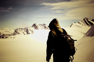Traveler on the mountain top, Freedom Picture for Android, iPhone and iPad