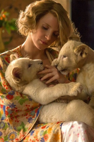 Screenshot №1 pro téma The Zookeepers Wife Film with Jessica Chastain 320x480