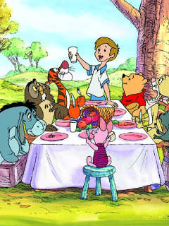 Winnie the Pooh Dinner wallpaper 240x320