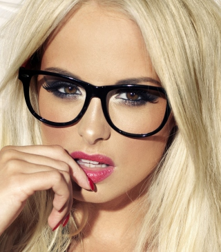 Blonde Model Wearing Black Glasses Background for Nokia C1-01