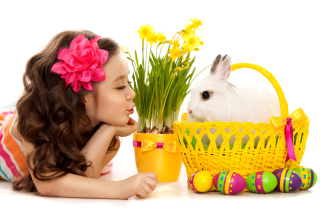 Girl and Rabbit Wallpaper for Android, iPhone and iPad