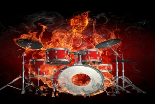 Skeleton on Drums Background for Android, iPhone and iPad