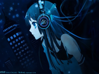 Обои Anime Girl With Headphones 320x240