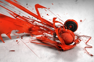 Red Headphones Art Picture for Android, iPhone and iPad