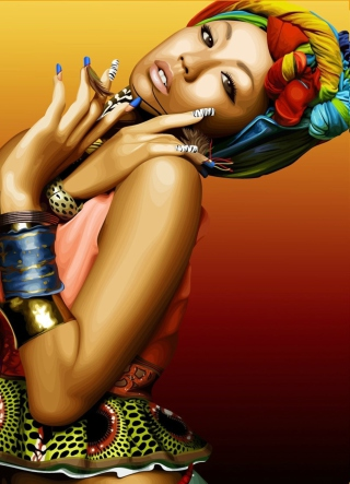 Free African Style Girl Painting Picture for Nokia C2-03