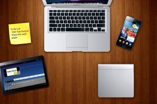 Apple Gadgets, MacBook Air, iPad, Samsung Galaxy - Obrázkek zdarma pro Fullscreen Desktop 1280x960