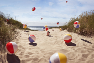 Free Beach Balls And Man's Head In Sand Picture for Android, iPhone and iPad