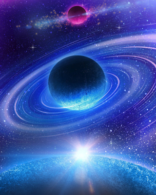Planet with rings sfondi gratuiti per 768x1280