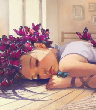Butterfly Girl Painting Wallpaper for 640x1136