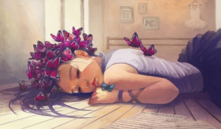 Butterfly Girl Painting Wallpaper for Android, iPhone and iPad
