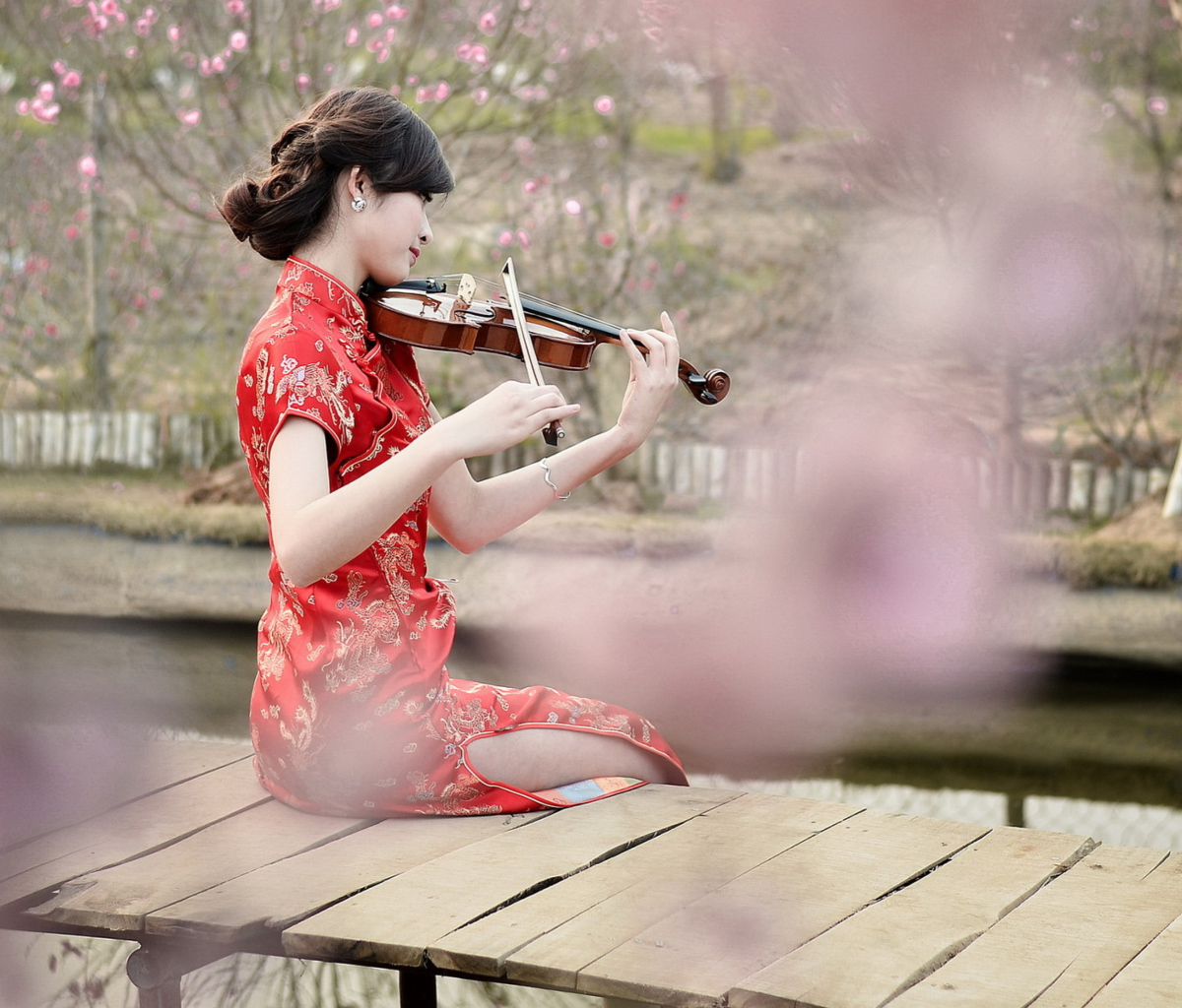 Screenshot №1 pro téma Pretty Asian Girl Violinist 1200x1024