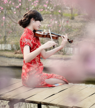 Pretty Asian Girl Violinist Background for Nokia X2