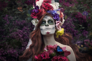 Mexican Day Of The Dead Face Art Background for Android, iPhone and iPad