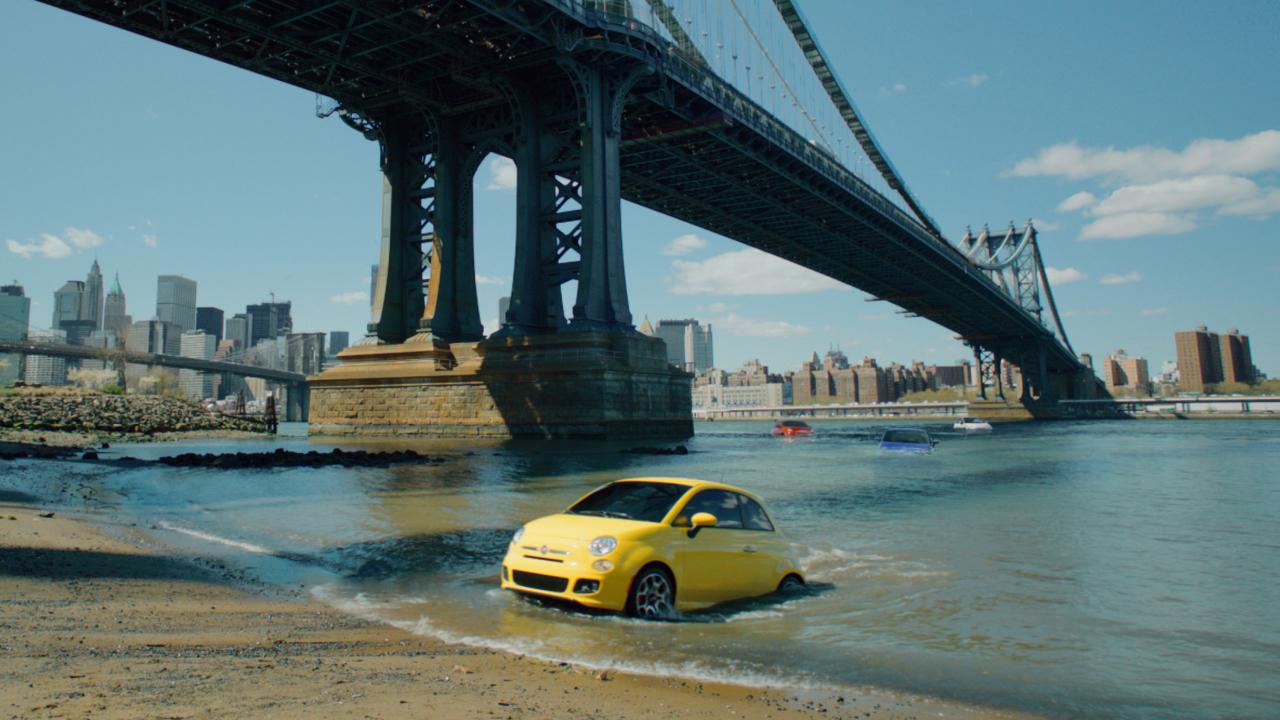 Yellow Fiat 500 Under Bridge In New York City