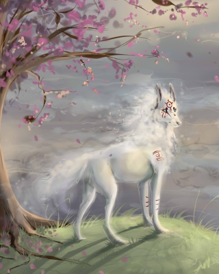 Art Wolf and Sakura sfondi gratuiti per iPhone 6 Plus