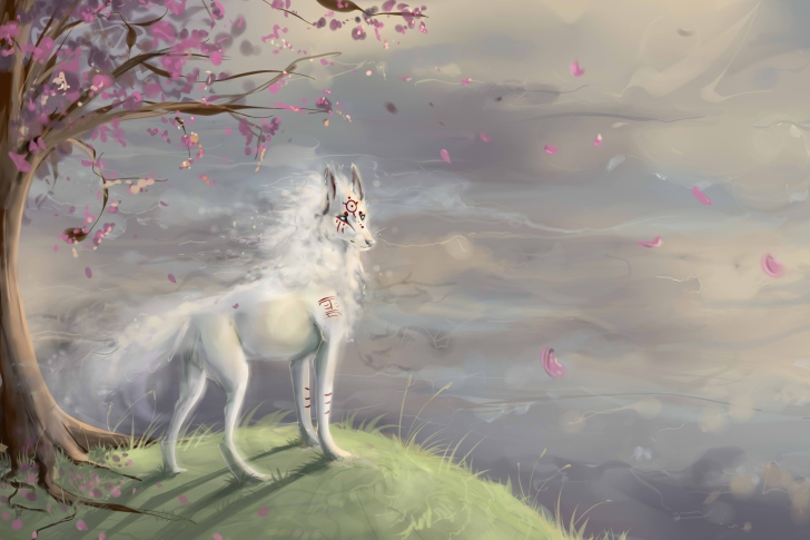Das Art Wolf and Sakura Wallpaper