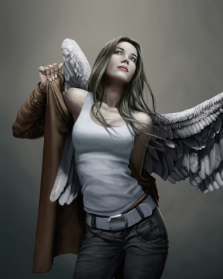 Free Angel Drawn Art Picture for Nokia Asha 306