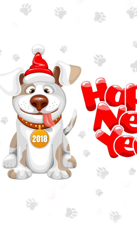New Year Dog 2018 wallpaper 480x800