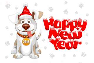 New Year Dog 2018 Background for Android, iPhone and iPad