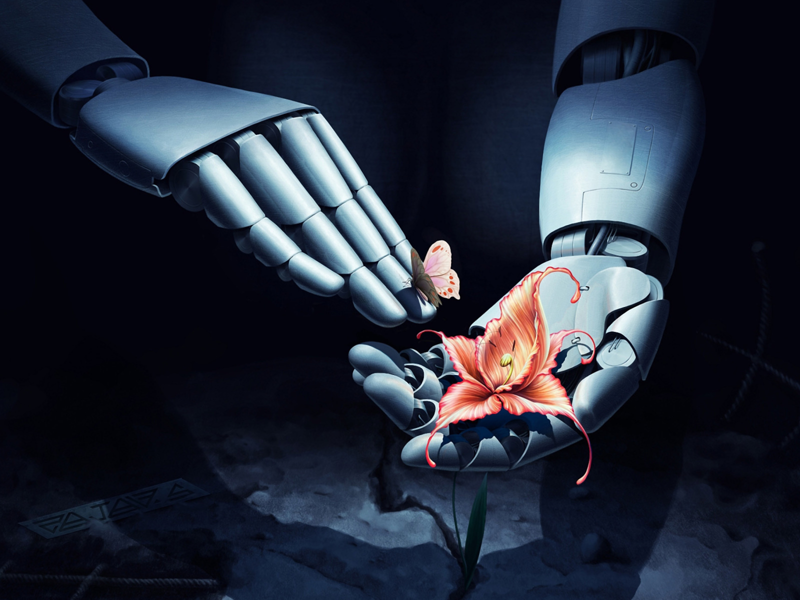 Das Art Robot Hand with Flower Wallpaper 1600x1200