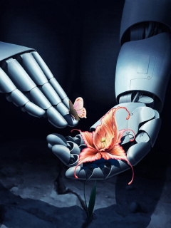 Art Robot Hand with Flower wallpaper 240x320