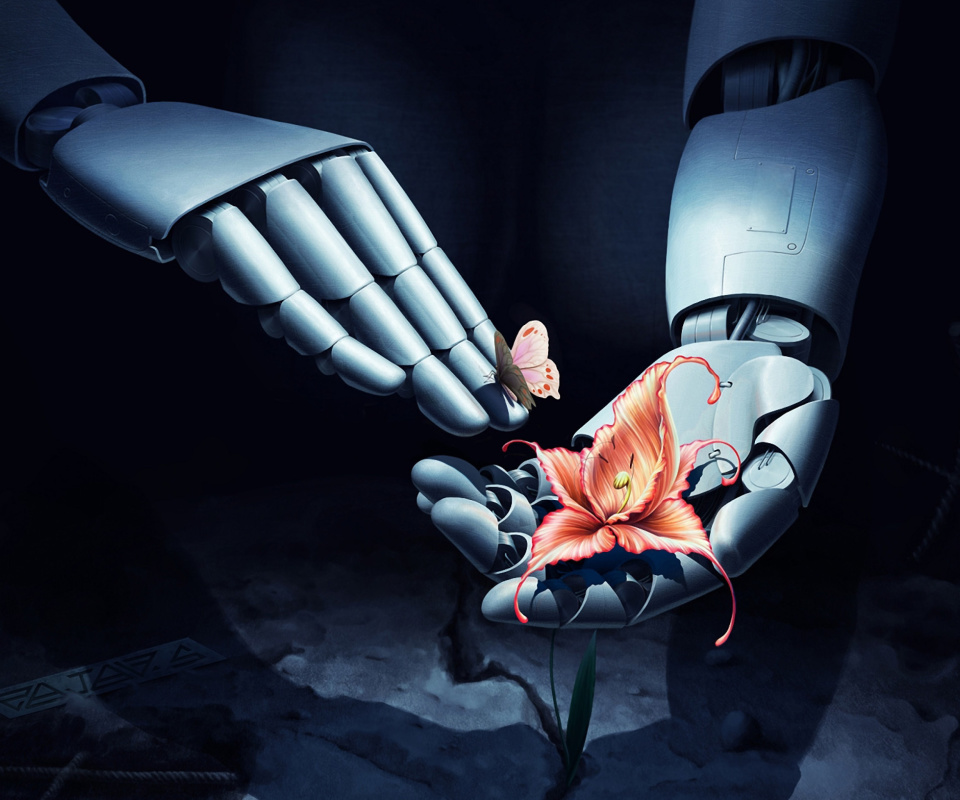 Screenshot №1 pro téma Art Robot Hand with Flower 960x800